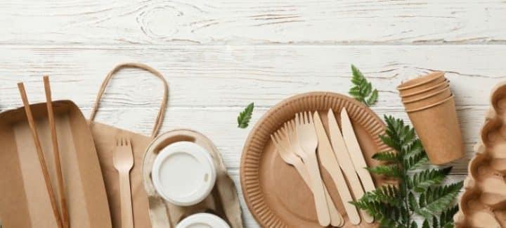 Miser sur une sélection de vaisselle jetable en bois